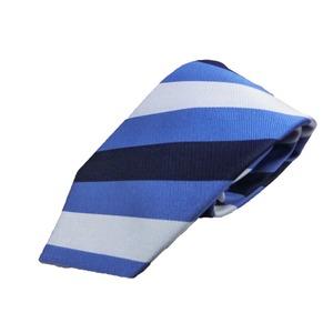 ストライプシリーズ 日本製シルク100% トラッド 織りブルー