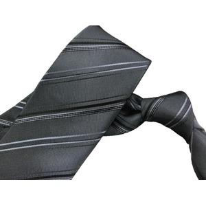 ストライプシリーズ 日本製シルク100% チャコールグレー