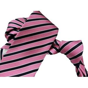 新春 レジメンタルストライプ  日本製シルク100 ピンク ネクタイ