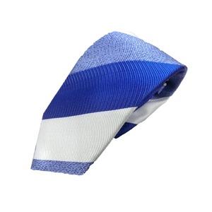 新春 織柄ストライプ  日本製シルク100 ブルー/ホワイト ネクタイ