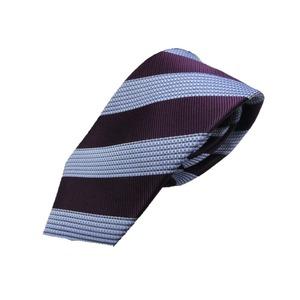 新春 織柄ストライプ  日本製シルク100 パープル ネクタイ
