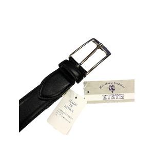日本製レザービジネスベルト  ブラック