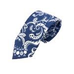 新作季節素材ネクタイ  日本製リネン100% ペイズリー ブルー