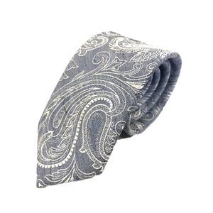 新作季節素材ネクタイ  日本製シルク100% ペイズリー ブルー