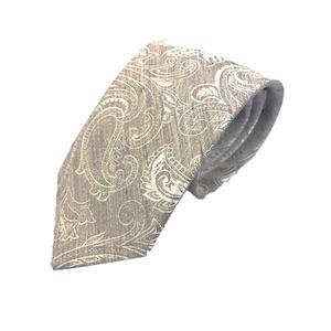 新作季節素材ネクタイ  日本製シルク100% ペイズリー きなり