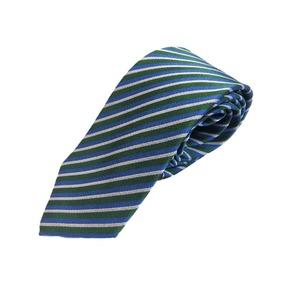 イタリア製 GianBelliniファクトリーシルクネクタイ グリーン×ストライプ