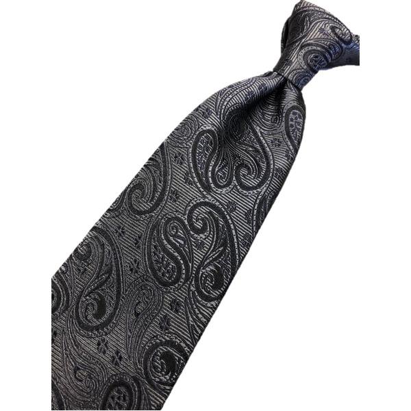 新作ネクタイ  日本製シルク100% ブラック ペイズリー