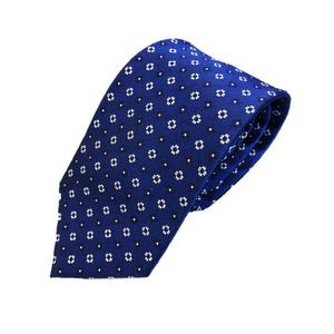 新作ネクタイ  日本製シルク100% ロイヤルブルー 小紋