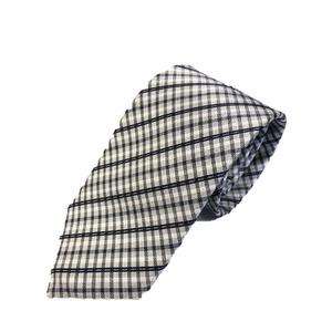 ネクタイ 春夏チェックシリーズ 日本製シルク100% シルバー/ホワイト