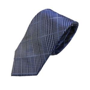 ネクタイ人気チェックシリーズ 日本製シルク100% ネイビーチェック