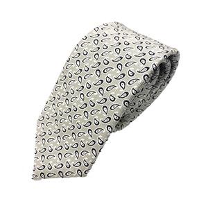 ネクタイ ペイズリーシリーズ 日本製シルク100% シルバー