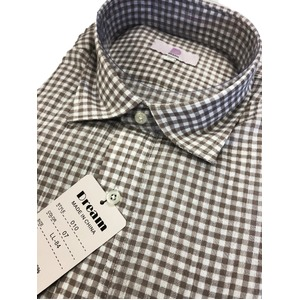 コットン100% ギンガムチェックシャツ ベージュ Lサイズ