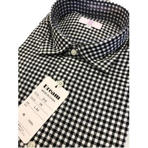 コットン100% ギンガムチェックシャツ ブラック Lサイズ
