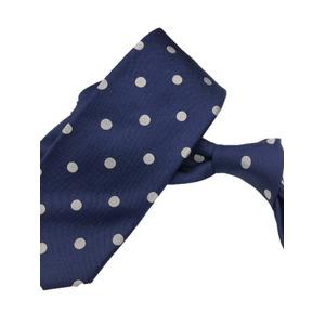 ネクタイ 水玉シリーズ 日本製シルク100% ネイビー×ホワイト