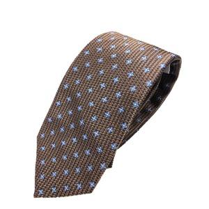 ネクタイ 小紋シリーズ 日本製シルク100% ブラウン×スカイブルー