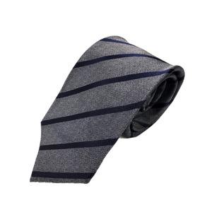 ネクタイ 織りストライプシリーズ 日本製シルク100% グレー×ネイビー