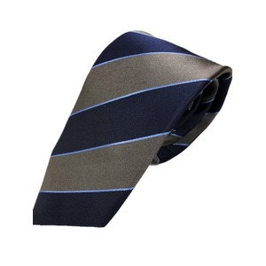 ネクタイ 肉厚織りストライプシリーズ 日本製シルク100% グレー&ネイビー
