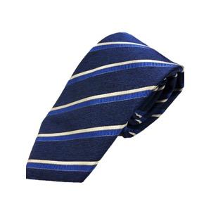 ネクタイ 肉厚織りストライプシリーズ 日本製シルク100% ネイビー