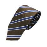ネクタイ 肉厚織りストライプシリーズ 日本製シルク100% ダークブラウン