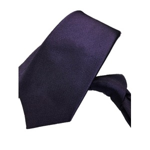 ネクタイ 無地織柄シリーズ 日本製シルク100% ダークパープル