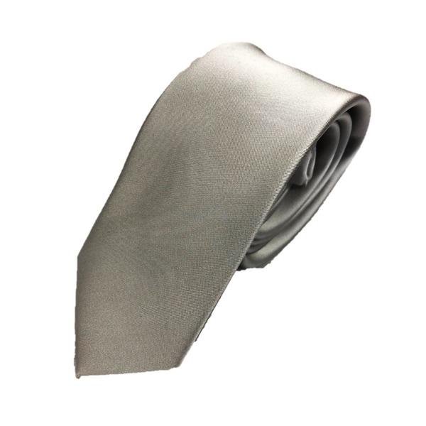 スマートタイ 無地コレクション日本製シルク100%ネクタイ サテンシルバー無地