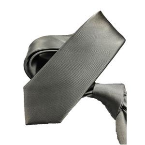 スマートタイ 無地コレクション日本製シルク100%ネクタイ サテングレー無地