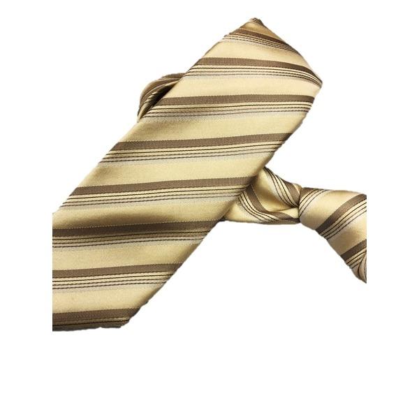 スマートタイコレクション日本製シルク100%ネクタイ ゴールドストライプ
