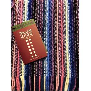 英国製 100%NEW LAMBSWOOL WILLIAM LOCKIE ウィリアムロッキー ストライプマフラー ブルー&ピンク