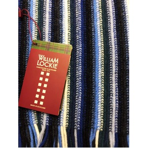 英国製 100%NEW LAMBSWOOL WILLIAM LOCKIE ウィリアムロッキー ストライプマフラー ブルー