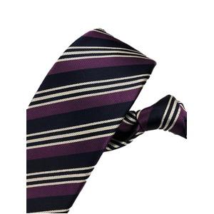 厳選ワンランク上のネクタイ 織柄レジメンタルシリーズ シルク100% パープル