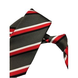 厳選ワンランク上のネクタイ 織柄レジメンタルシリーズ シルク100% グレー&レッド
