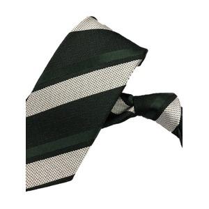 厳選ワンランク上のネクタイ 織柄レジメンタルシリーズ シルク100% モスグリーン&シルバーホワイト