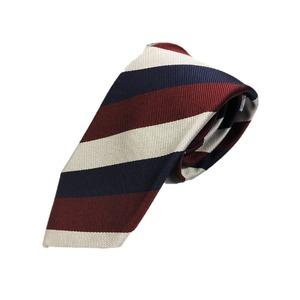 厳選ワンランク上のネクタイ 織柄レジメンタルシリーズ シルク100% エンジ&シルバーホワイト&ダークネイビー