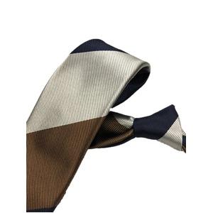 厳選ワンランク上のネクタイ 織柄レジメンタルシリーズ シルク100% シルバー&ネイビー&ブラウン