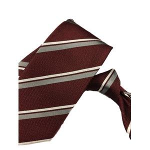 厳選ワンランク上のネクタイ 織柄レジメンタルシリーズ シルク100% エンジ&グレー