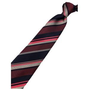 厳選ワンランク上のネクタイ 織柄レジメンタルシリーズ シルク100% エンジ&ネイビー&ピンク