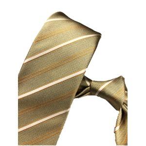厳選ワンランク上のネクタイ 織柄レジメンタルシリーズ シルク100% ゴールド&イエロー