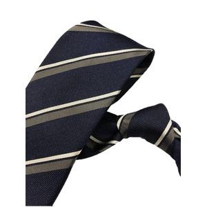 厳選ワンランク上のネクタイ 織柄レジメンタルシリーズ シルク100% ネイビー