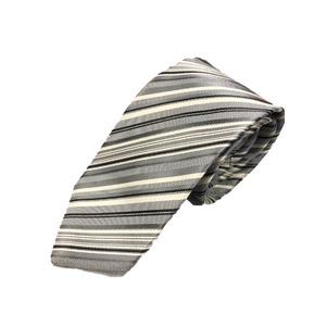 織柄レジメンタルシリーズ シルク100% シルバー&ホワイト
