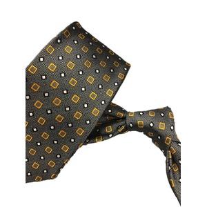 厳選ワンランク上のネクタイ 織大柄シリーズ シルク100% シルバー&イエローゴールド