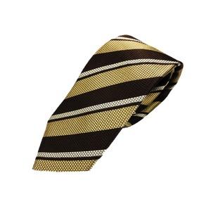厳選ワンランク上のネクタイ トラッドレジメンタルシリーズ シルク100% ゴールド&ブラウン 大剣幅約8.0cm