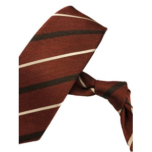 厳選ワンランク上のネクタイ トラッドレジメンタルシリーズ シルク100% ダークオレンジ 織MIX 大剣幅約7.5cm