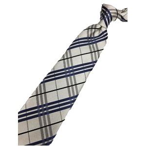 チェックシリーズ シルク100% ホワイト&ブルー 大剣幅約8.0cm