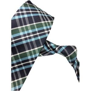 チェックシリーズ シルク100% ブルー&グリーン 大剣幅約8.0cm