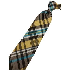 厳選ワンランク上のネクタイ チェックシリーズ シルク100% ゴールド&ブルー 大剣幅約7.5cm