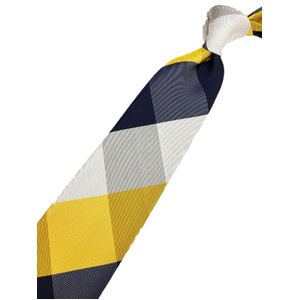 チェックシリーズ シルク100% イエロー&ネイビー 大剣幅約8.0cm