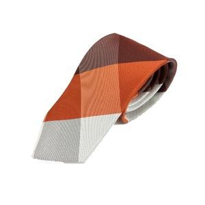 チェックシリーズシルク100%オレンジ&ブラウン大剣幅約8.0cm