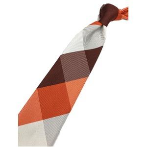 チェックシリーズ シルク100% オレンジ&ブラウン 大剣幅約8.0cm