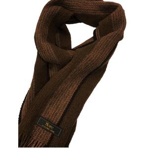 おすすめ 機屋直仕入れ 日本製カシミヤ100% 織マフラー ブラウン ストライプ ざっくり編み