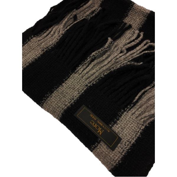 おすすめ 機屋直仕入れ 日本製カシミヤ100% 織マフラー ブラック&グレー ストライプ ざっくり編み